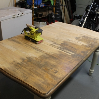 Table-sanding half done